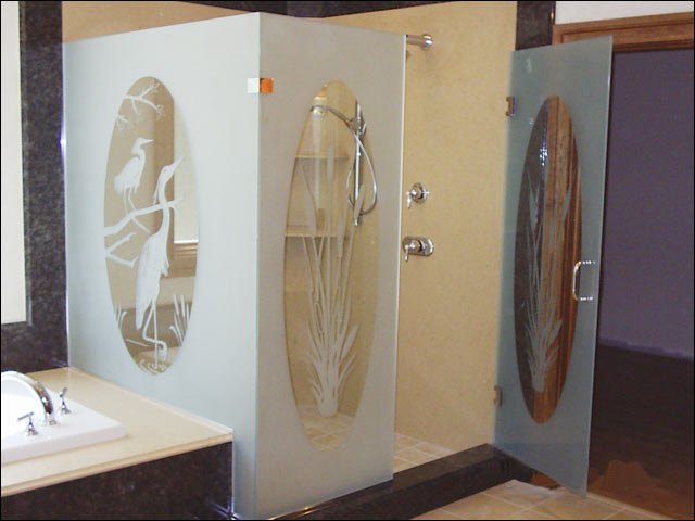 etched glass custom shower enclosure - williamsburg va