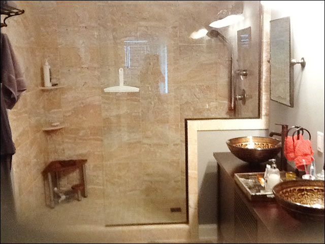 frameless splash-guard heavy glass shower installation