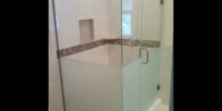 custom frameless frosted glass bottom shower - james city county