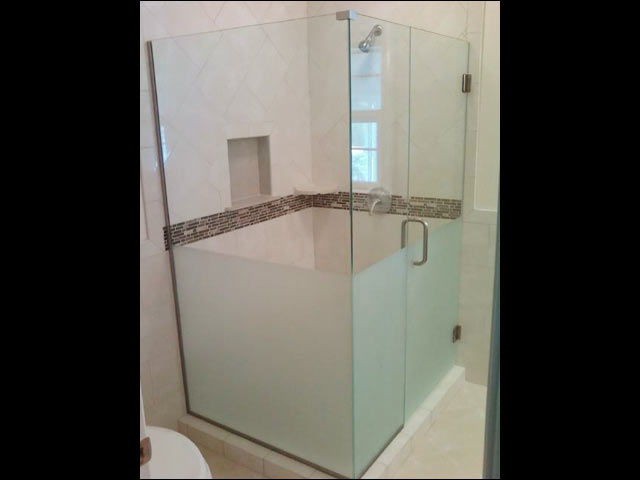 Custom Frameless Frosted Glass Bottom Shower   James City County