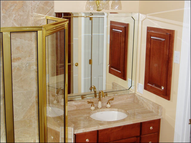 custom bathroom beveled-edge mirrors